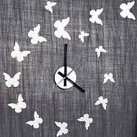 """Часы-наклейка на стену """"Бабочки"""" NL24 - декоративная виниловая наклейка"""