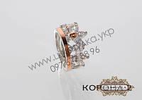 Серебряное кольцо с золотом и цирконом Корона 2
