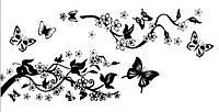 Наклейка виниловая Цветы и бабочки 3D декор
