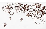 Наклейка виниловая Цветочный принт (коричневый) 3D декор