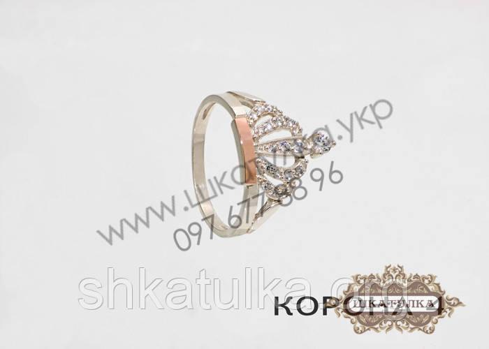 Серебряное кольцо с золотом и фианитом Корона 4