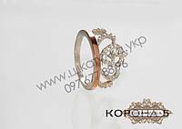 Серебряное кольцо с золотом и цирконом Корона 5