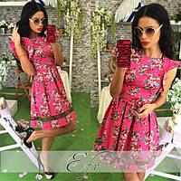 Платье женское  стрейч-коттон в цветы  стрейч-коттон размеры: С,М,Л