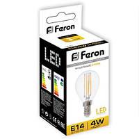 Светодиодная лампа Feron LB61 4W шар Filament Е14/Е27