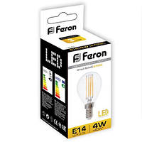 Светодиодная лампа Feron LB61 4W шар Filament Е14/Е27, фото 1