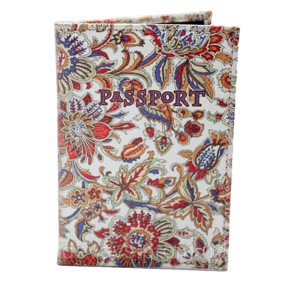 Обложка для паспорта из кожзама *Народный узор*