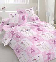 Простынь двуспальная, евро Розовые цветы, бязь (хлопок 100%)