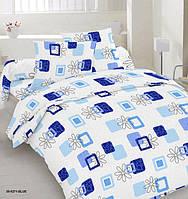 Простынь двуспальная, евро Синий квадрат, бязь (хлопок 100%)
