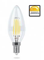Светодиодная LED лампа Feron LB-68 4W свеча Filament Е14 (под диммер)