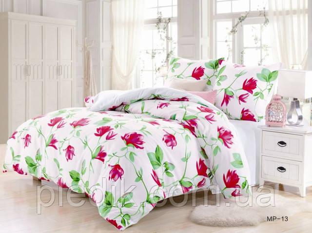 Комплект постельного белья, белый с цветами