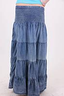 Женская джинсовая юбка с широкой резинкой на талии
