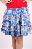 Модная джинсовая юбочка в цветочный принт, фото 1