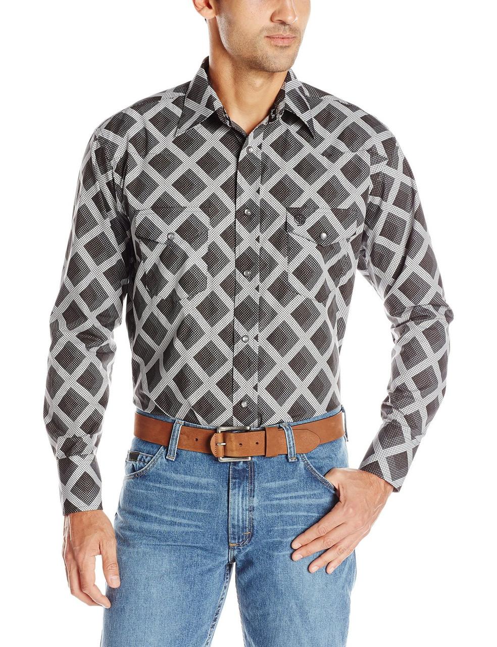 Рубашка Wrangler George Strait, L, Blackberry/Grey, MGSX198