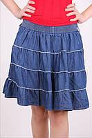 Оригинальная джинсовая юбочка с белой строчкой