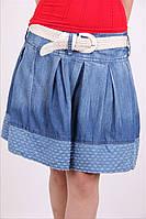Молодежная женская юбка с белым поясом