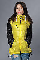 Женская демисезонная куртка - парка. Код модели К-56-12-15. Цвет желтый.
