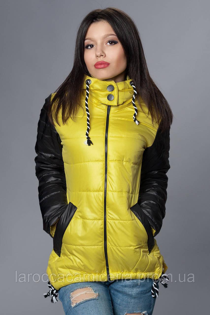 451d8193ede Женская демисезонная куртка - парка. Код модели К-56-12-15. Цвет желтый.
