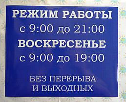 Наклейка Режим работы