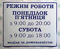 Наклейка Режим работы Сине-белый