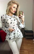 Блузка с ассиметричной баской и длинным рукавом, фото 2