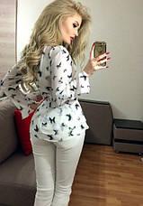 Блузка с ассиметричной баской и длинным рукавом, фото 3