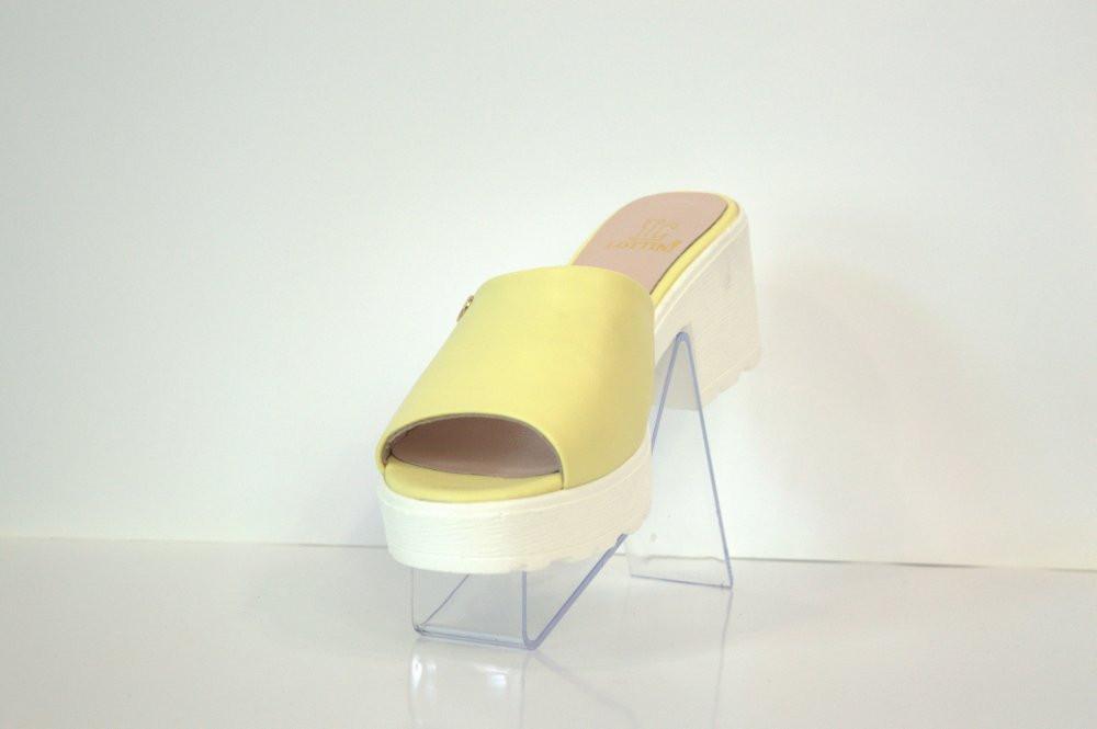 Шлепанцы женские лимонные на каблуке Lottini 103
