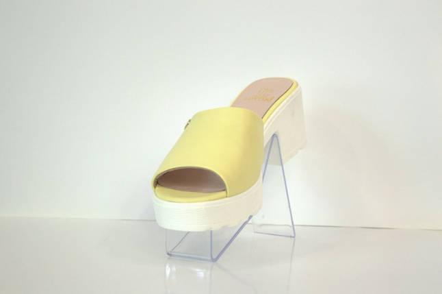 Шлепанцы женские лимонные на каблуке Lottini 103, фото 2