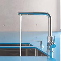 Смеситель для кухни с выдвижным душем Kludi L-ine 408510575 высокий