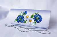 Стильный женский клатч с вышивкой цветами «Волошкові мрії»