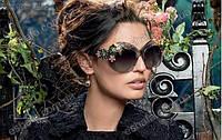 Солнцезащитные женские очки  с цветами кристаллы Dolce&Gabbana  4 цвета оправы: черные, графит, лаванда, прозр