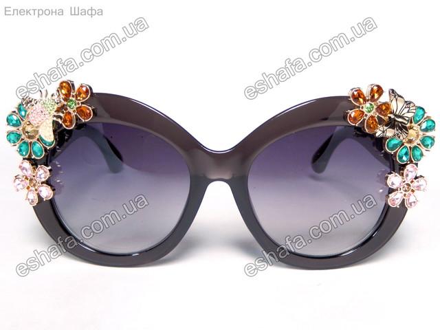 солнцезащитные очки  с цветами камни графит