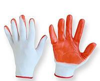 Перчатки защитные рабочие, оранжевые 1 пара. покрытые нитрилом