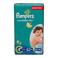 Подгузники Pampers Active Baby-Dry Maxi Plus 4+ (9-16 кг) 62 шт