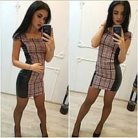 Платье в клетку с кожаными вставками