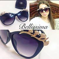 Женские красивые солнцезащитные очки с камнями на оправе n-4316186