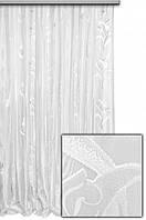 """Тюль вертикальный узор-полоска """"Мирандо"""",  цвет белый"""