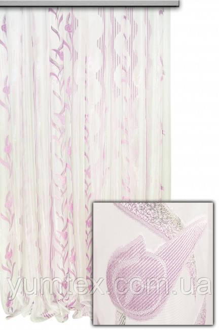 """Тюль вертикальный узор-полоска """"Мирандо"""",  цвет розовый"""