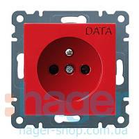 Розетка DATA з центральним з/к Lumina-2, червона, 16А/230В
