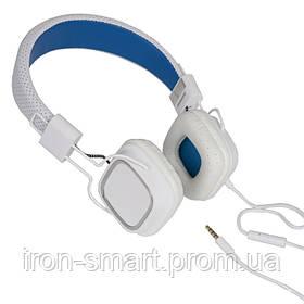 Наушники Gemix Clarks White/Blue, Mini jack (3.5 мм), накладные, кабель 1.2 м