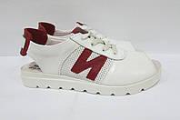 Женские сандалии ND белые натуральная кожа 563  код 0244А