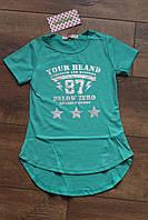 Удлиненная футболка для девочек 4 -10 лет