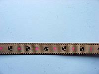 Лента репсовая морская. Коричневая с якорями и звездами. 9 мм
