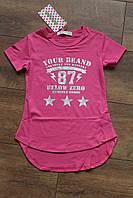 Удлиненная футболка для девочек 4 -6 лет