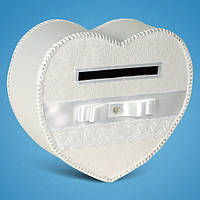 Сундучок для денег в форме сердца (белый)