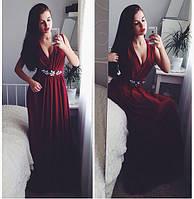 Женское красивое длинное платье с украшением (3 цвета)