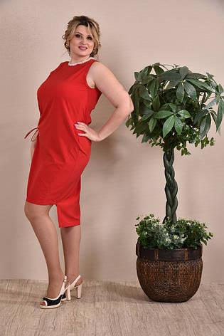Платье больших размеров на лето 0237 красное 48-74, фото 2