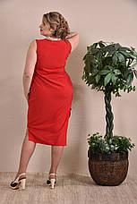 Платье больших размеров на лето 0237 красное 48-74, фото 3
