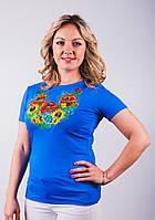 Трикотажная женская вышитая футболка