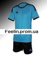 Футбольная форма игровая Adidas (Адидаc Голубая\черная)