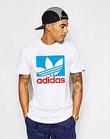 Мужская футболка белая с принтом адидас,Adidas